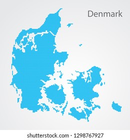 Abstract Denmark map on gray background. Pixel art. Vector illustration.