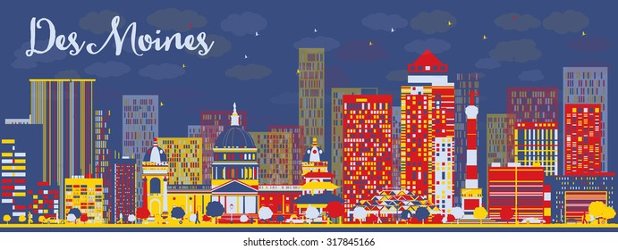 Abstract Des Moines Skyline with color Buildings. Vector Illustration. Business travel and tourism concept with modern buildings. Image for presentation, banner, placard and web site.