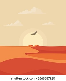 Abstract desert landscape with rising sun, clouds and flying eagle in the sky. Vector illustration.
