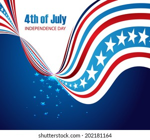 abstract design American independence day creative stylish wave beautiful vector