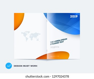 Abstract design bifold brochure in modern style, double-page modern catalog, flyer cover in A4 with colourful soft shapes for branding. Business vector spread cover.