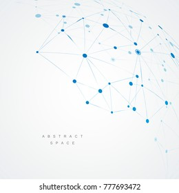 Abstract design with blue compound lines and dots. Vector connect background.