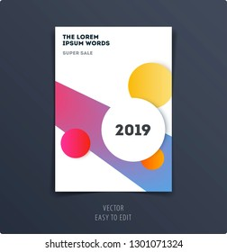 Abstract design brochure in modern style, creative catalog, flyer in A4 with colourful circles for branding, presentation, marketing kit. Business vector cover