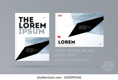 Abstract design brochure in modern style, creative catalog, flyer in A4 with colourful shapes for branding, presentation, marketing kit. Business vector cover