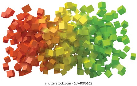 abstract design with colorful cubes.