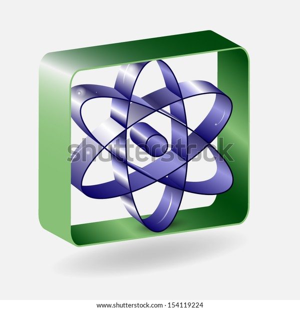 Abstract design concept blue atom in the green square frame. Vector illustration