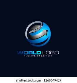 abstract design concept of left and right arrow, import export symbol with luminous color display. modern design, sophisticated and classy, logo for industry and trade