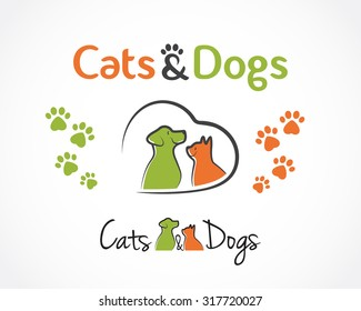 Abstract design concept for pet shop or veterinary. Dog and cat symbol. Vector logo template