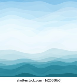 Abstract Design Creativity Background of Blue Horizontal Waves, Vector Illustration EPS10
