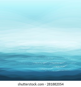 Abstract Design Creativity Background of Blue Sea Waves, Vector Illustration EPS10