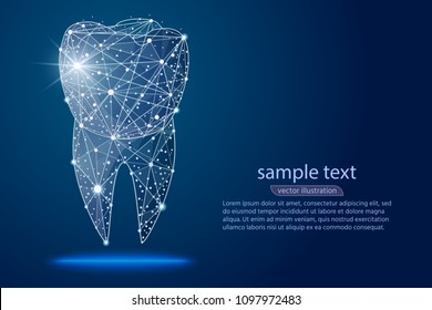 abstract design dental dental clinic, logo low poly wireframe. Vector abstract polygonal image mash line and point. Digital graphics illustration