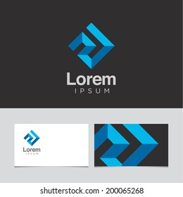Abstract design element with business card template 01