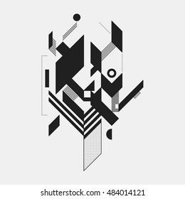 Abstract design element on white background. Geometric modern art graffiti style.