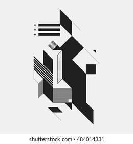 Abstract design element on white background. Geometric modern art graffiti style.