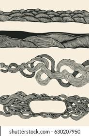 abstract design elements set, halftone drawing set. vector illustration