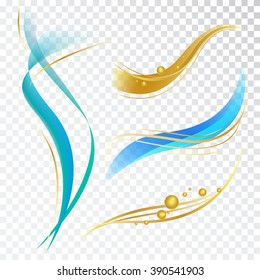 Abstract Design Elements with Waves and Bubbles. Vector Decorations for Toothpaste, Cosmetics and Shampoo Package.