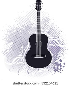Abstract design with guitar and grunge floral elements