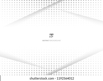 Abstract design halftone white and grey background. Decorative website layout or poster, banner, brochure, print, ad. Vector illustration