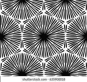 Abstract design with hand drawn sketchy lines and brush strokes. Decorative seamless vector pattern. Ethnic style black and white minimalistic background.