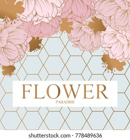 "Abstract design incorporating a gold hexagon with text ""flower paradise"" in gold uppercase letters. Around the hexagons are pale pink poppies."