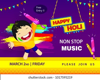 Abstract design of Indian hindu festival Holi , festival of colors  , editable vectors composed of happy kid playing holi  , water color with splash and Text of Happy Holi non stop music