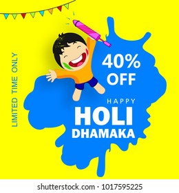 Abstract design of Indian hindu festival Holi , festival of colors  , editable vectors composed of happy kid , water color with splash and Text of Happy Holi with 40% off