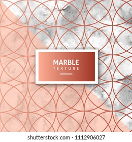 Abstract design marble texture with golden colored circular geometrical figures
