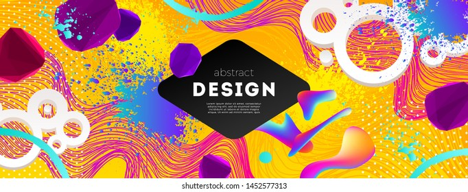 Abstract design with multicolored and gradient different shapes. Vector illustration template. Universal abstract design for covers, flyers, banners, greeting card, booklet, label and brochure.