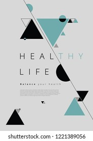 Abstract Design Poster Healthy Life Balance Vector Illustration