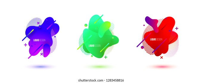 Abstract design set of liquid shapes. Fluid vector design. Gradient flyer, banners with flowing liquid shapes. Modern presentation template.