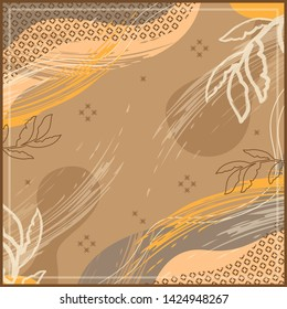 Abstract design for silk scarf with leaf and geometric element on brown background
