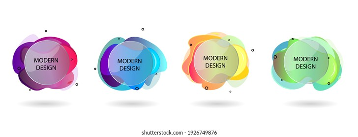 Abstract design vector illustration. Modern logo template. Set of banners, bright layout, liquid forms. Geometric shape, round glass. Flat image with shadow.