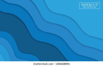 Abstract design with wave shapes in a paper cut style. Paper cut design concept background for flyers, banner, poster, presentation, brochure cover. Modern and trendy background.