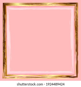 Abstract design for wedding card, invitation, congratulations from a gold frame on a pink background. Watercolor background for decoration of holiday posters, packaging of cosmetics, advertising.