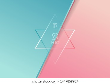 Abstract diagonal paper cut style blue and pink gradient color beautiful background with space for text. You can use for template brochure, poster, banner web, print, etc. Vector illustration