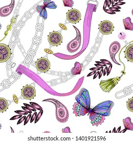 abstract diamonds, chains, butterflies, paisley on white background, seamless vector pattern