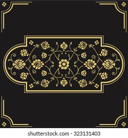 Abstract die cut floral pattern. Vintage cutout fretwork oriental background. Laser cut pattern illustration. Ornate ornamental panel. Paper cutting silhouette ornament isolated on black background