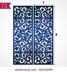 Abstract die cut pattern panels. Cutout silhouette panel. Openwork panel suitable for laser cutting. Ornate lazer cutting file.