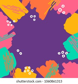 abstract different marker strokes shapes colorful border frame fun texture  background in purple pink orange yellow vibrant colors