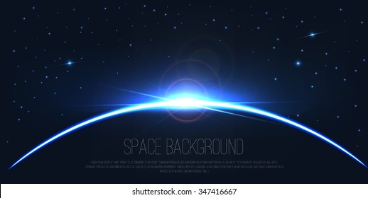 Abstract digital background . Realistic lens flare light effect . Vector earth with eclipse on starry sky . Constellation illustration .