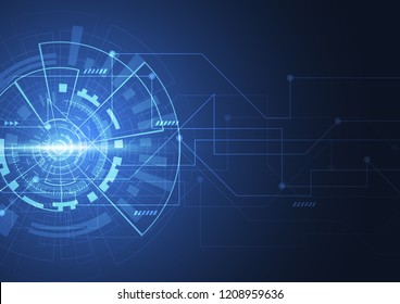 Abstract digital background with technology circuit board texture. Electronic motherboard illustration. Communication and engineering concept. Vector illustration