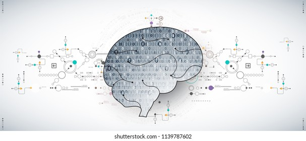 Abstract digital brain,technology concept. Vector