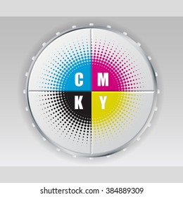 Abstract digital button design with cmyk halftone