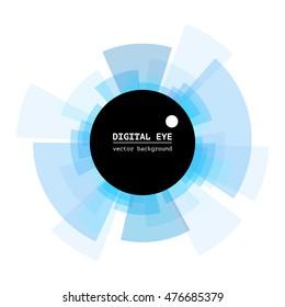 Abstract digital eye. Diverging rays. Vector illustration