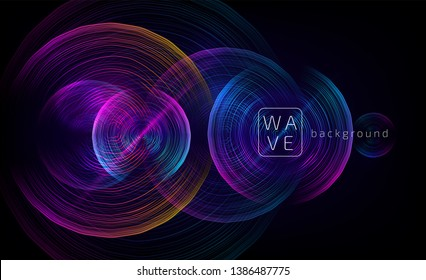 Abstract digital future circle shapes vector background consist on wave lines. Tech music sound concept. Electronic light rounds illustration on black backdrop.