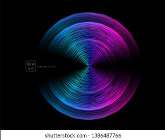 Abstract digital future wave lines vector background in circle shape. Tech music sound concept. Electronic light rounds illustration on black backdrop.