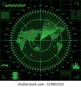 Abstract digital green radar screen with world map, targets and futuristic user interface on black background.