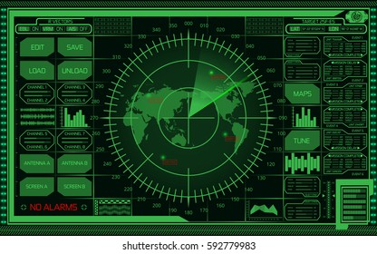 Abstract digital green radar screen with world map, targets and futuristic user interface on dark background.