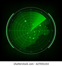 Abstract digital green radar screen with map, targets and futuristic user interface on black background.