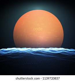 Abstract digital illustration of sun rising in the cyberspace over cyberland. Futuristic technological vector illustration.
